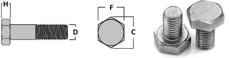 Titanium Hex Bolts Dimensions